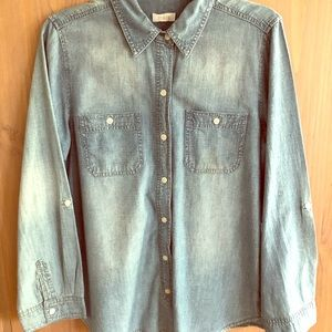 Chico's stone washed denim ladies shirt